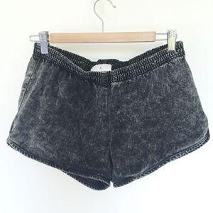 American Apparel black grey denim shorts L